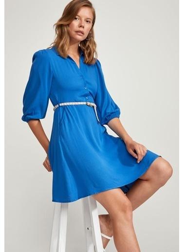 DeFacto Regular Fit Dokuma Elbise Mavi
